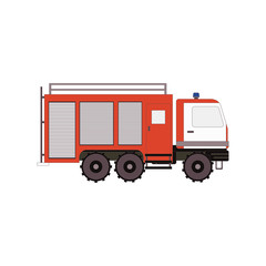 Firetruck for game, ui, app on a white background. Vector illustration