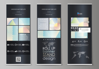 Roll up banner stands, abstract style templates, modern business concept, corporate vertical vector flyers, flag layouts. Minimalistic design with lines, geometric shapes forming beautiful background.