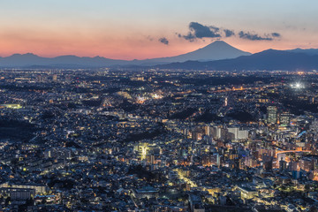 Yokohama city and Mt.Fuji in winter evening