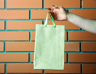 light green shopping bag in female hand on brick wall