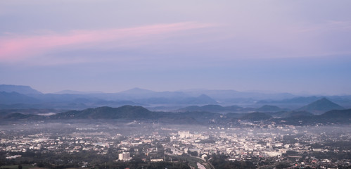 Cityscape from top mountain at Phu Bo Bit, Loei, Thailand