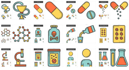 Medicine line icon set.
