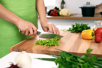 Close up of  woman's hands cooking in the kitchen. Housewife slicing ​​white bread. Vegetarian and healthily cooking concept