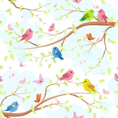 seamless texture with enamored pretty birds on trees