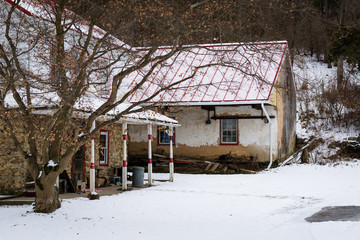 House on a snowy winter day, in a rural area of Carroll County,
