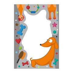Cute happy birthday border dog photo frame vector illustration.