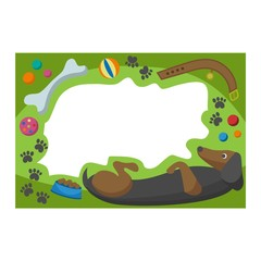 Cute happy birthday border dog photo frame vector illustration.