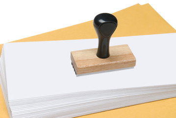 Envelopes and rubber stamp
