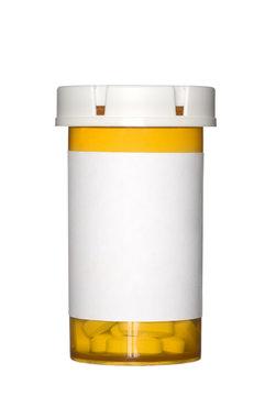 Pill bottle on white background