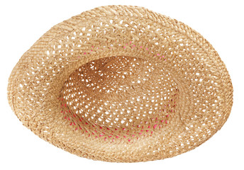 Open weave straw hat viewed from underneath