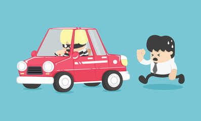 Foto auf Leinwand Cartoon cars Car theft illustration