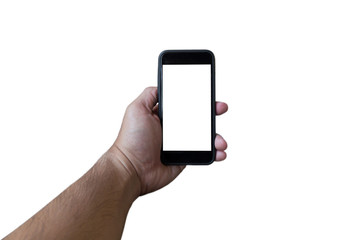man hand holding mobile phone on white background