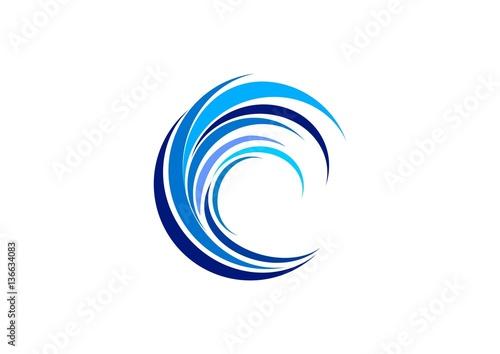 Wave Circle Logo Swirl Blue Waves Water Symbol Icon Letter C