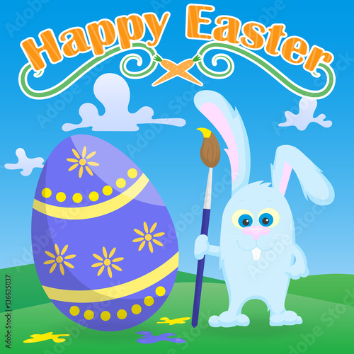 Postcard to the day of easter two funny cartoon easter bunny postcard to the day of easter two funny cartoon easter bunny carrying a painted egg and the words happy easteron a lawn and blue sky background stock m4hsunfo