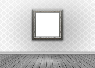 Interior with damask wallpaper with blank picture frame
