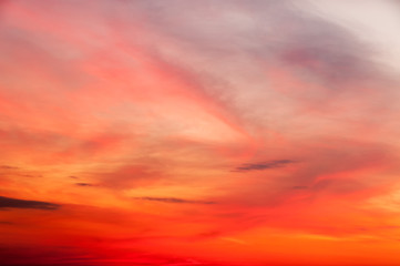 Bright sunset with dramatic cloudscape background