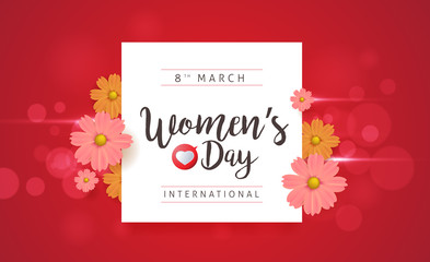 8 March Women's Day greeting card template. Vector illustration.banners.Wallpaper.flyers, invitation, posters, brochure.