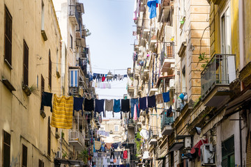 Stores à enrouleur Naples Street view of old town in Naples city, italy Europe