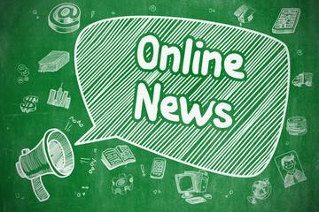 Online News - Doodle Illustration on Green Chalkboard.