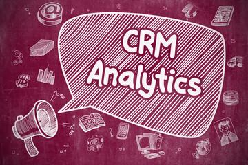 CRM Analytics - Cartoon Illustration on Red Chalkboard.