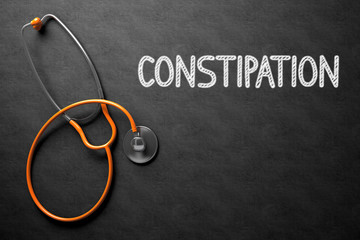 Constipation - Text on Chalkboard. 3D Illustration.