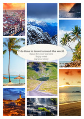 Fototapete - Collage of summer beach images - nature and travel background Va