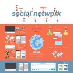 Set of social app for Internet communication. Concept digital marketing - social networking. Flat vector illustration EPS 10.