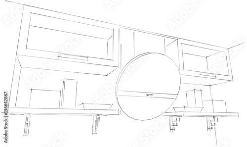 3d Sketch Drawing Of Kitchen Round Hood And Cupboards With Glass