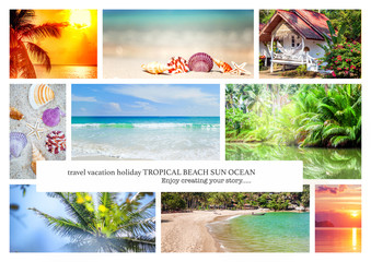 Wall Mural - Collage of summer beach images - nature and travel background Va