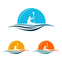 Boat Kayak Paddle Canoe Rowing with Sunrise Logo