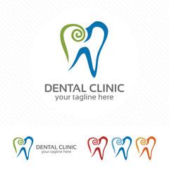 Creative dental clinic logo vector. Abstract dental symbol icon.