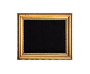blank vintage gold frame in baroque style, isolated on white background