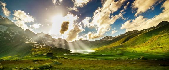 Beautiful mountain view with lake of Sonamarg, Jammu and Kashmir state, India