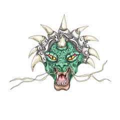 Decorative dragon head with horns print