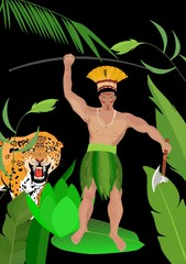 Amazonian indian on jungle background