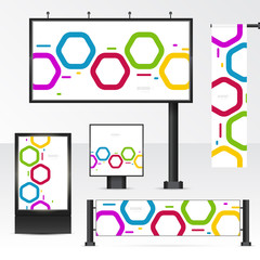Mockup billboard, city light, horizontal and vertical banners. Set objects for outdoor advertising. Template for branding on white background. Vector illustration.