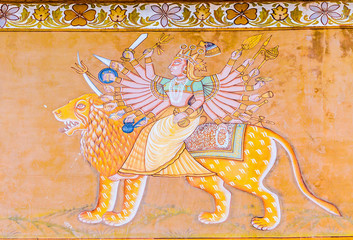 Fresco  of Durga outside Mehrangarh Fort