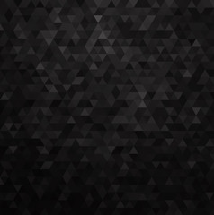 Geometric mosaic pattern from black triangle texture, abstract vector background