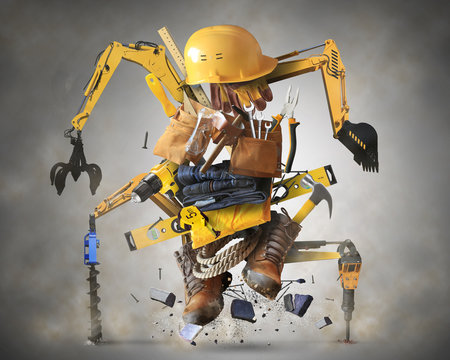Building tools and equipment like a constructiion robot