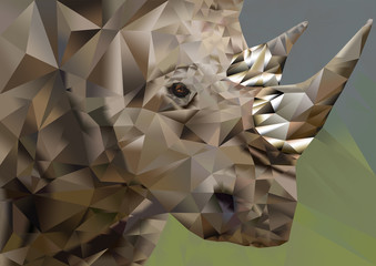Polygon drawn illustration of white rhino - endangered species
