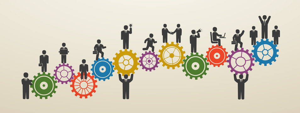 Teamwork, business people in motion, workforce. Concept business people on gear wheels. Motivation for success.