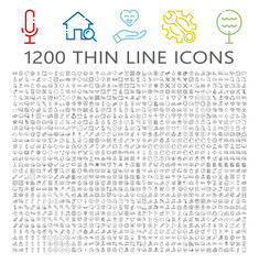 Universal thin line icon set