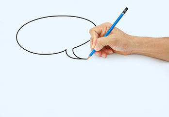 Hand holding a pencil on a white paper background, Drawing with pencil for image of Speech Bubbles