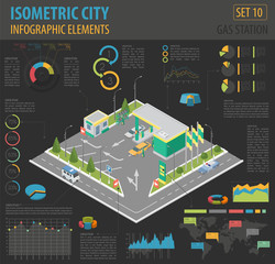 Flat 3d isometric Gas station and city map constructor elements
