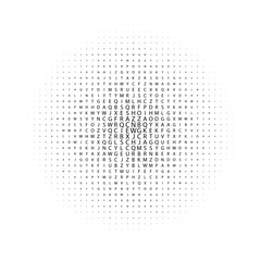 Abstract black and white deco art print halftone pattern with letters