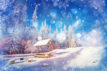 starry sky in a fantastic New Year's Eve. Winter background with