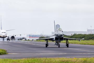 "RAF Typhoon ""waves"" with its air brake"