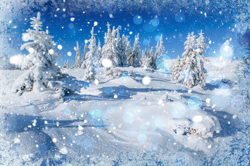 winter landscape trees snowbound, bokeh background with snowflak