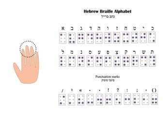 Hebrew Alphabet Braille. The font for blind people. Vector illustration