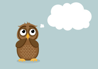 Cute owlet dreams of the present. Owl thought. Greeting card with empty space for your text or advertisement. Vector illustration. Thought Bubbles